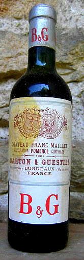 1962 Rare * 1962 * Chateau Franc-Maillet - * (375ml) *** Pomerol * Grand Vin - Half bottle: 375 ml